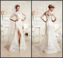 Popular White Factory Direct Modest Split Leg Wedding Dress(China (Mainland))