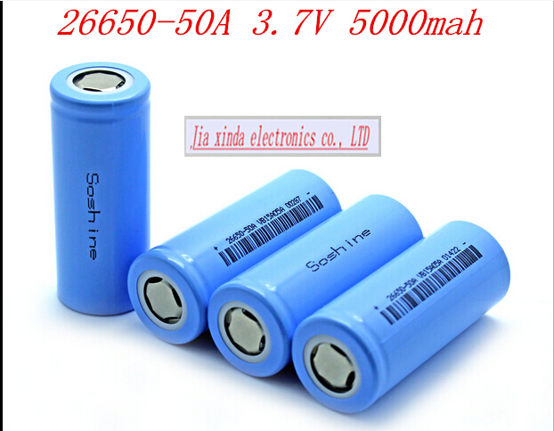 HOT NEW Soshine 26650-50A 2665050A 26650 Li-ion NCR battery 26650 3.2V 25A 5000mah Rechargeable lithium battery(China (Mainland))