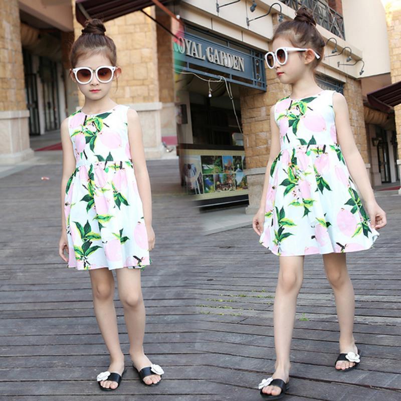 Kids Girl Clothes Summer 2016 New Brand Pretty Girls Dresses Children Clothing Printing Sleeveless Dress robe fille enfant(China (Mainland))
