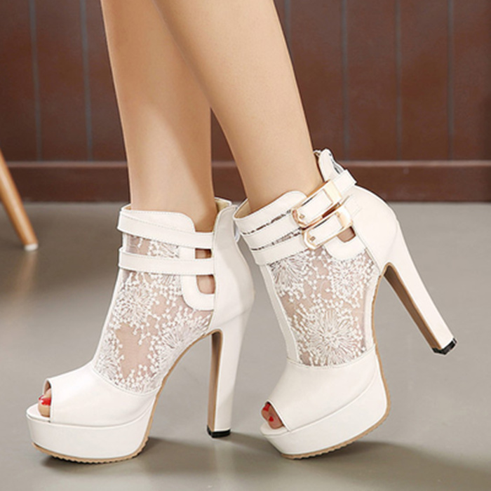Single open toe boots 12cm high-heeled shoes buckle gauze thick heel platform womens summer sandals<br><br>Aliexpress