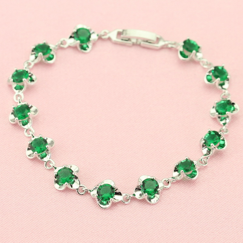 ASHLEY Fashion Trendy Green Created Emerald Bracelet For Women Silver Color Jewellery Chain Bracelets Free Jewelry Box Free Ship(China (Mainland))