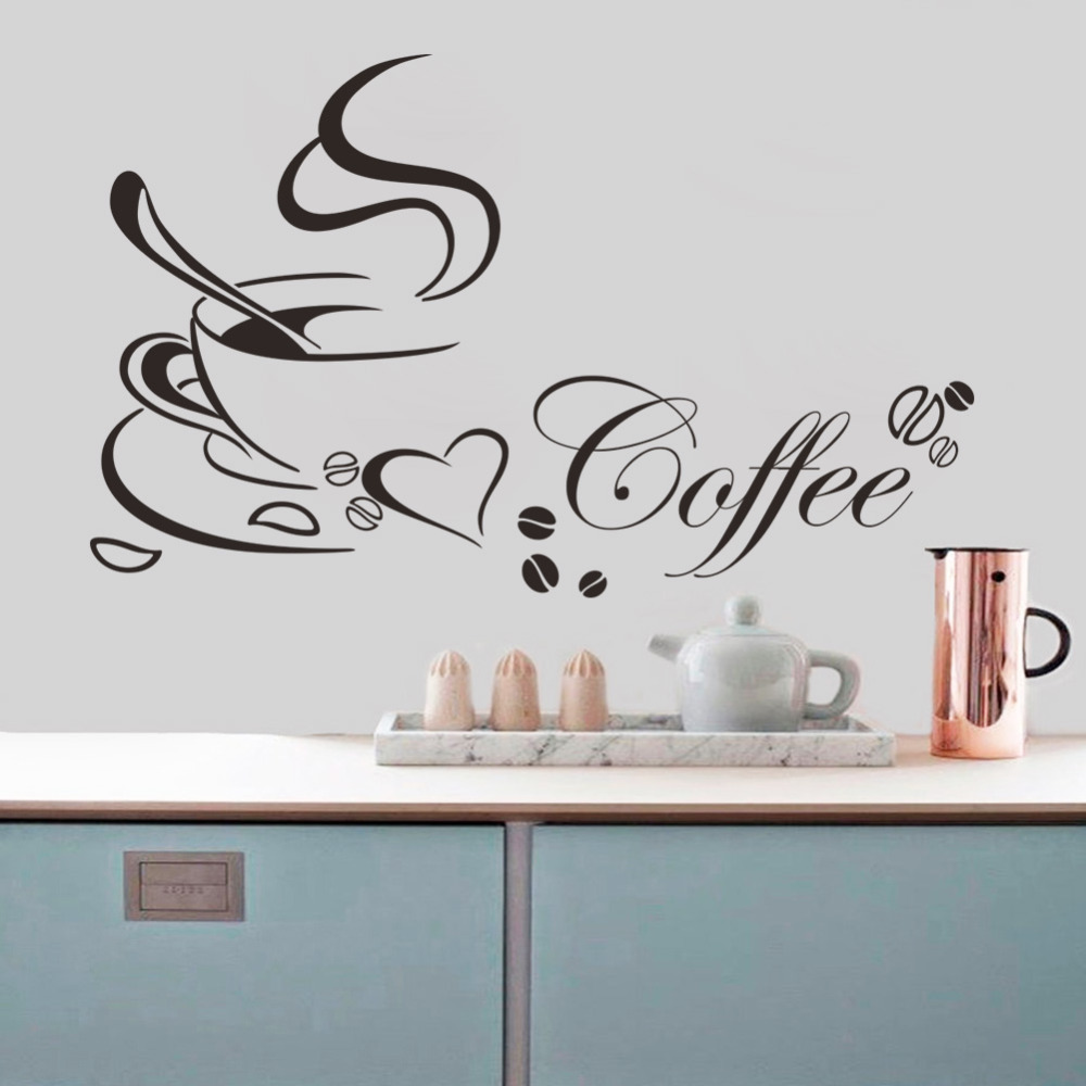 Free shipping coffee cup vinyl quote removable kitchen wall stickers diy home decor wall art - Diy kitchen wall decor ...