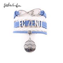 Buy Little MingLou Infinity love FC zenit Bracelet football Charm bracelets & bangles Women men leather braid sport fans jewelry for $1.45 in AliExpress store