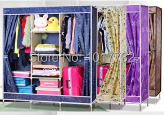 New arrivel 135*46*180cm 7 frames Blue star purple coffee pink washable oxford folding wardrobe bedroom furniture closet clothes(China (Mainland))