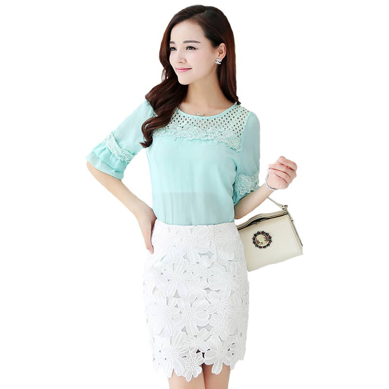 New Summer large size women clothes Fashion Three Quarter sleeve women chiffon blouse Slim thin ladies lace tops Solid color(China (Mainland))