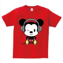 יוניסקס ילדים T חולצה קצר שרוולים חולצות מיקי הדפסת t חולצה ילד/ילדה קיץ עכבר כפפת חולצה תינוק קריקטורה tees 3 T-8 T NN(China)