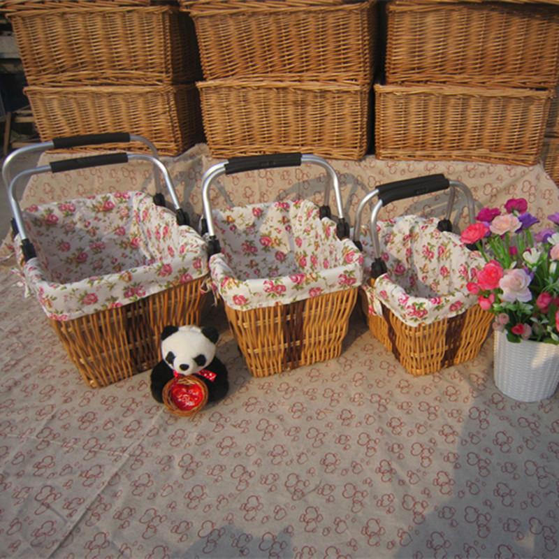 Willow baskets car fabric supermarket shopping basket Japanese Style storage basket folding box foodpicnic basket container(China (Mainland))