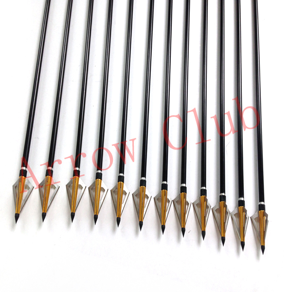 24pcs hunting 7 6mm OD and 30inch length aluminum compound bow arrow matches 24pcs 125GR gold