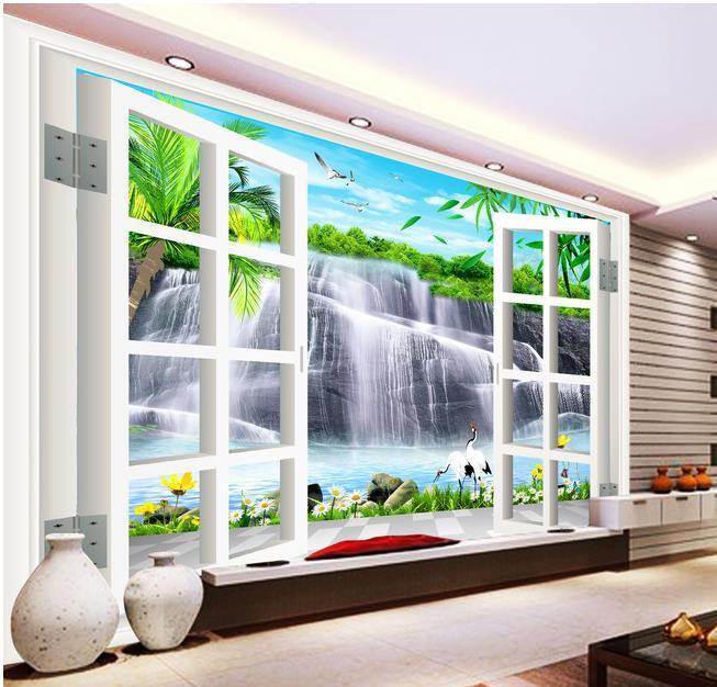 papel de parede , HD 3D landscape outside the window 3D mural for TV backdrop wall Interior decoration 3d wallpaper(China (Mainland))