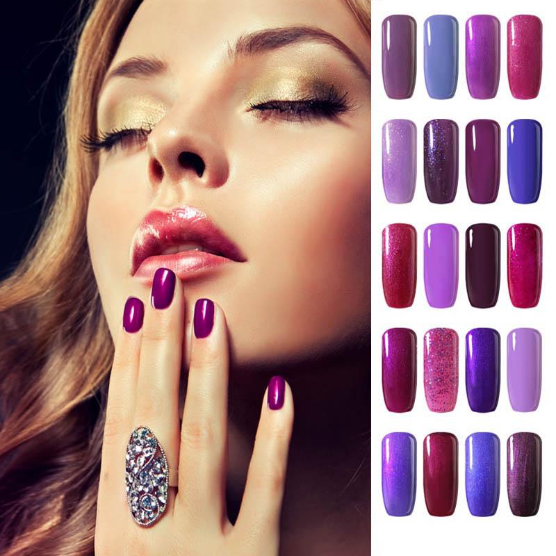 8ml Purple Gel Nail Polish Colors Beige flesh Varnish Nail Gel Coat UV Gel for LED Lamp Soak Off Gelpolish Purple Series(China (Mainland))