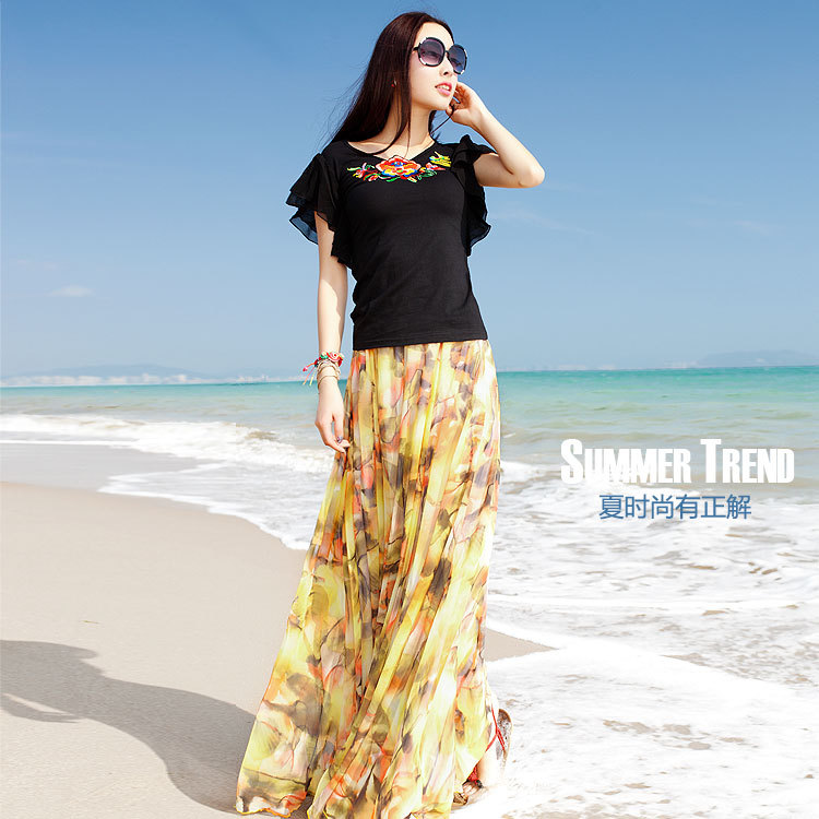 Twods 2015 new chiffon maxi skirts womens swing yellow floral print top grade plus size summer