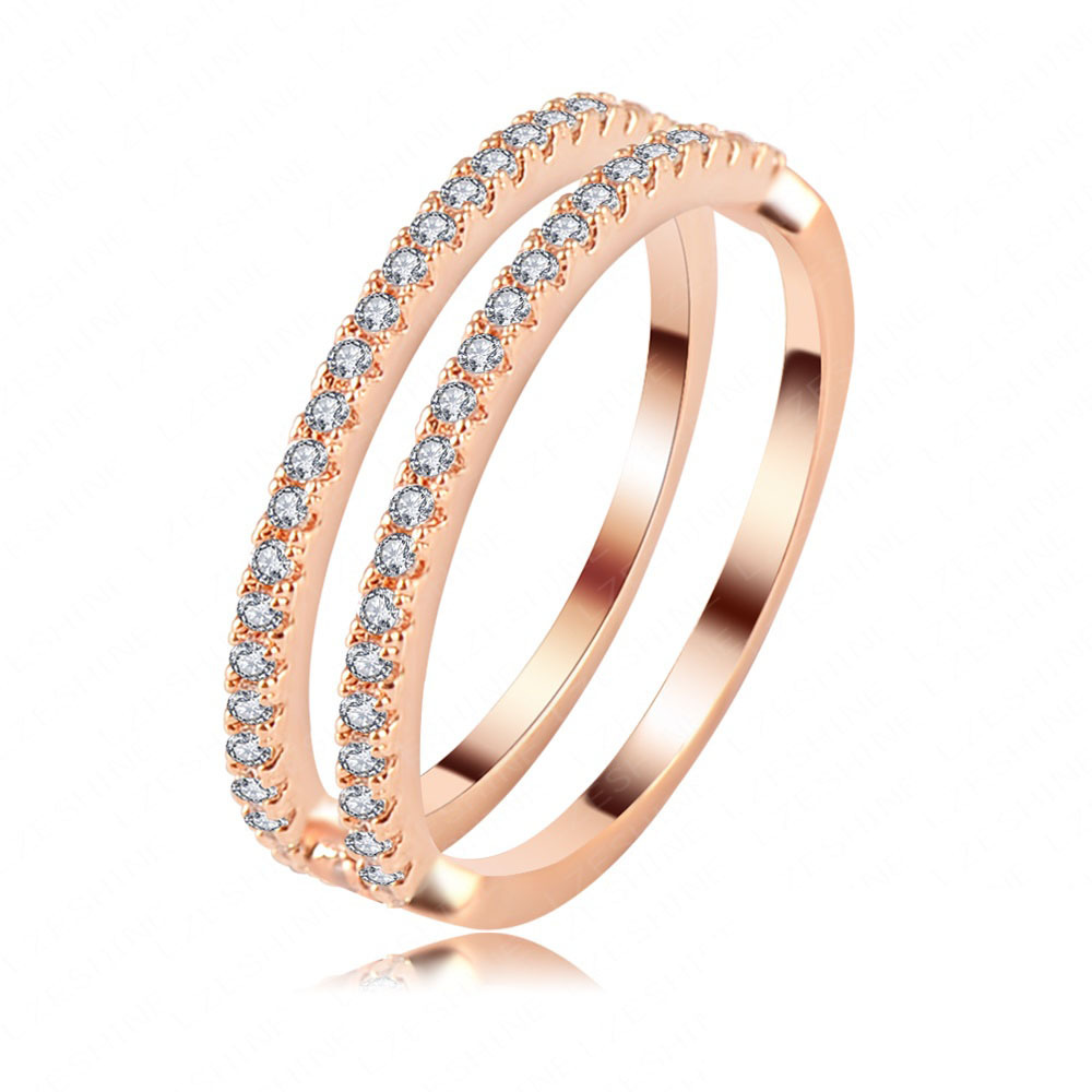 LZESHINE Brand New Simple Women Rings Brands 18K Rose Gold Plated SWA Element Austrian Crystal Wedding Finger Rings CRI0119-A(China (Mainland))