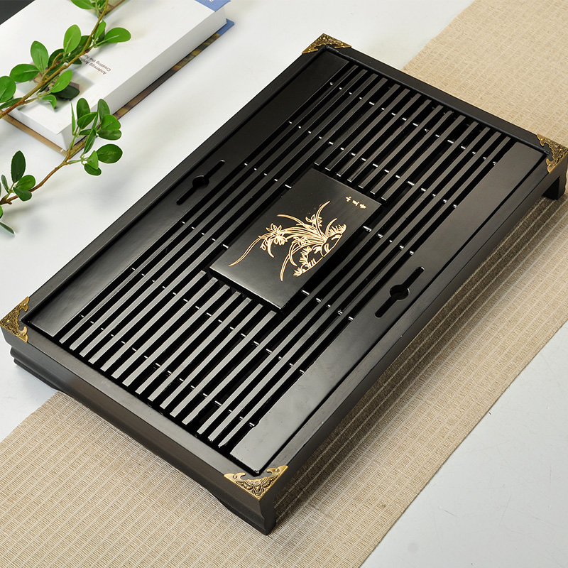 43cm*28cm*5.5cm chinese solid wooden tea tray with 4 medal corner edges exquisite household tea board(China (Mainland))