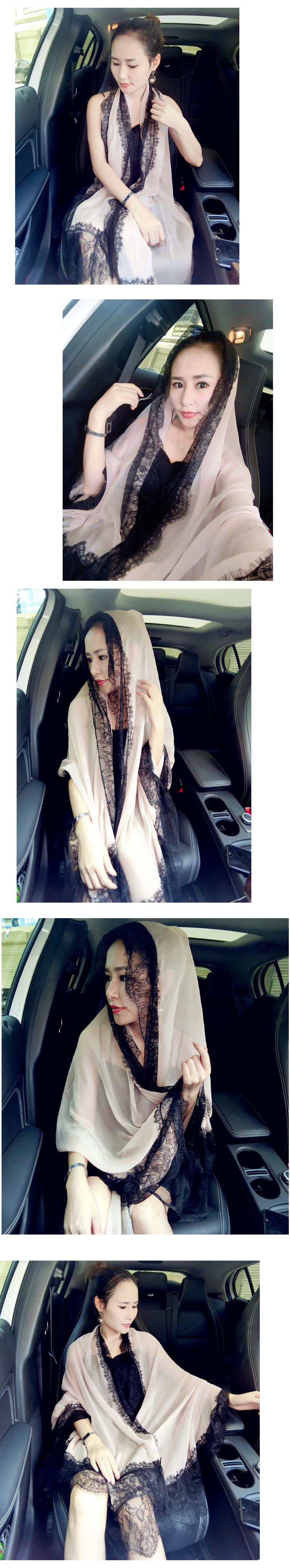 200x100cm Natural Silk Chiffon Lace Scarves Woman Winter Long Solid Brand Scarf Fourlard Pareol Hijab Echarpe Islam Shawls S6