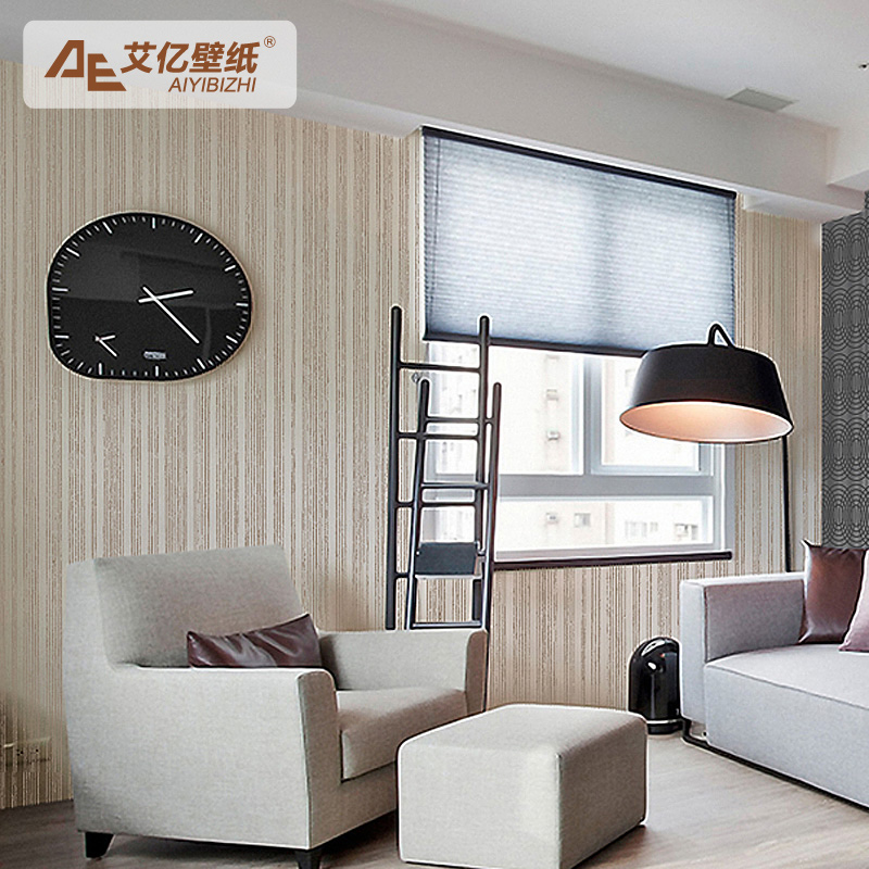 Wallpaper living room background wall modern brief beige for Beige wallpaper living room