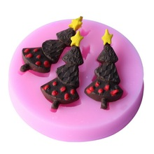 Christmas Tree Shape Chocolate Cookie Mold Silicone Fondant Cake Decorating Baking Tool Gum Paste Mould Kitchen Accessories E032
