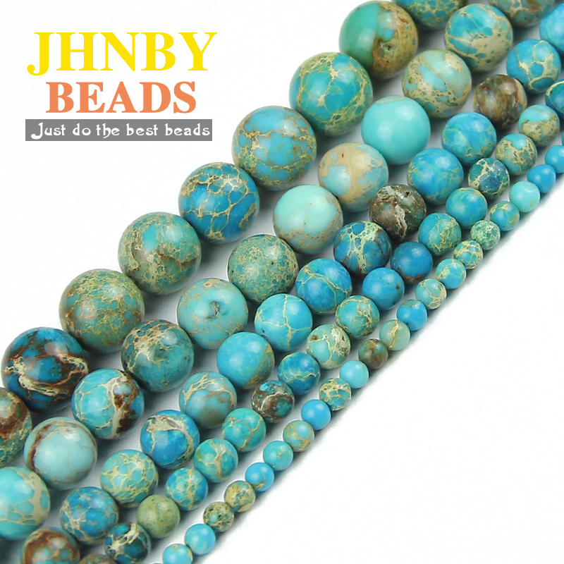 JHNBY Blue Imperial pine kallaite Natural Stone Round Loose beads ball 4/6/8/10/12MM Jewelry bracelet Accessories Making DIY()