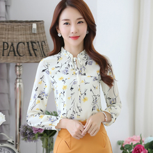 Buy New Women Autumn Spring Basic Lace Chiffon Blouse printing Top Shirt bandage elegant blusas bowknot OL Full sleeves Plus Size for $11.29 in AliExpress store