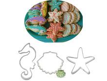 3 pz/set fai da te cucina starfish seahorse shell forma per il cioccolato decorazione di una torta stampo strumenti in acciaio inox cookie cutters(China (Mainland))