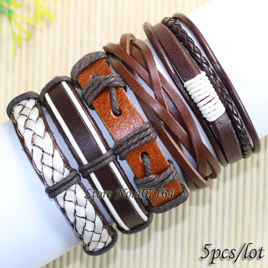 FL77- () latest fashion tribal ethnic handmade genuine braided wrap leather bracelet gift - SunFlower Trade Co.,Ltd store