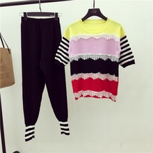 Buy 2017 New Spring Summer Women Striped Lace Knit Suits Two Piece Set Half Sleeve Pullover+Pants Knitted Women Tracksuit L611 ) for $28.21 in AliExpress store