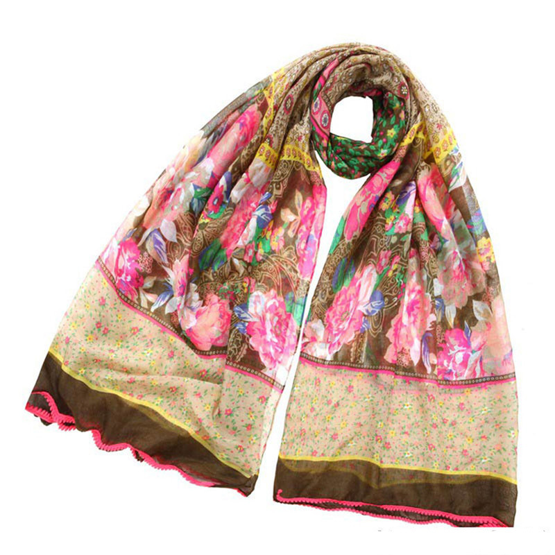 Ling/Free Shipping Fashion Voile Ladies Long Scarves Embroidered Polka Dot Scarf Summer Ponchos Bright-coloured Flower Design(China (Mainland))