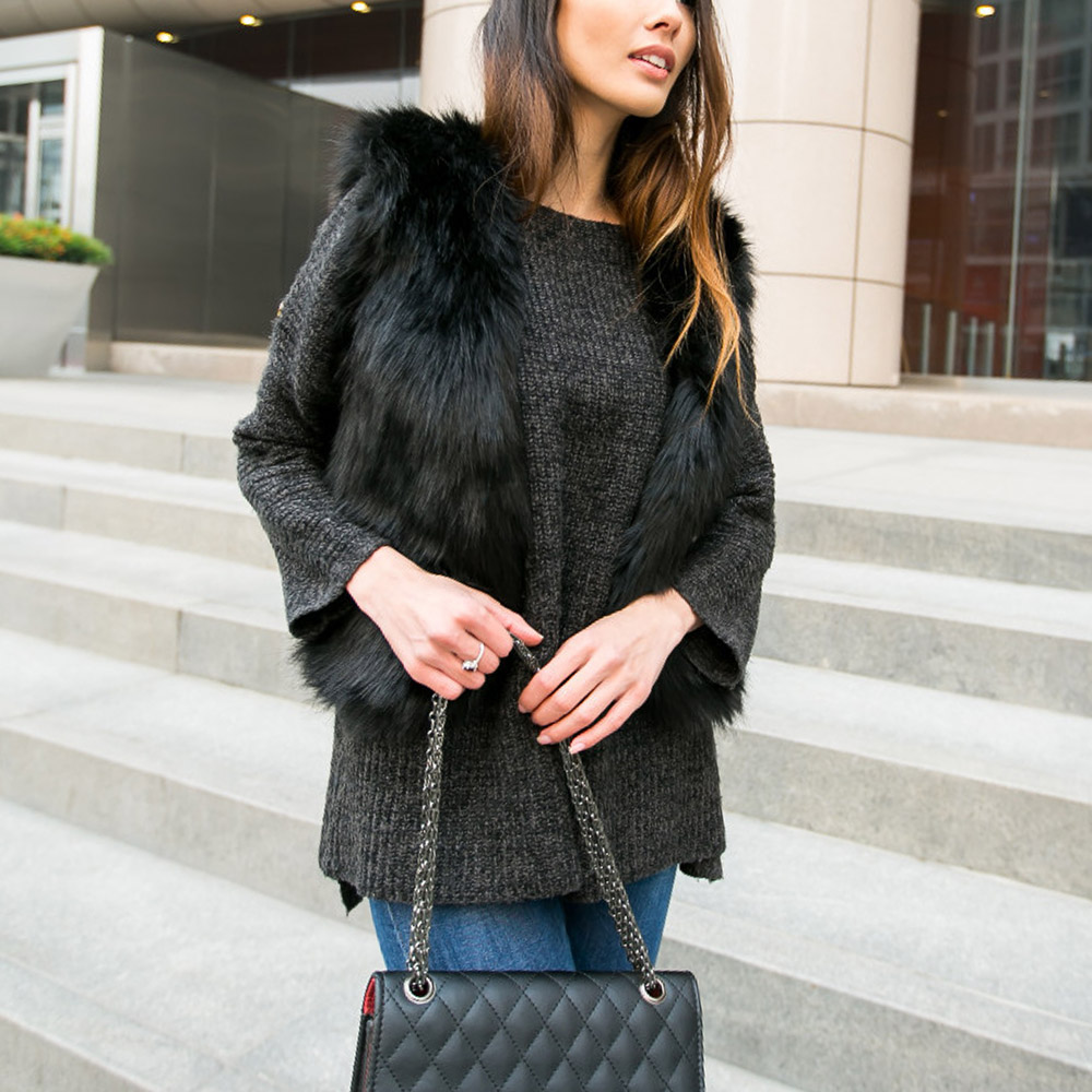 Women Hairy Faux Fox Fur Black Cardigan Vest Short Coat Outerwear New Fashion - Sexy Woman Line store