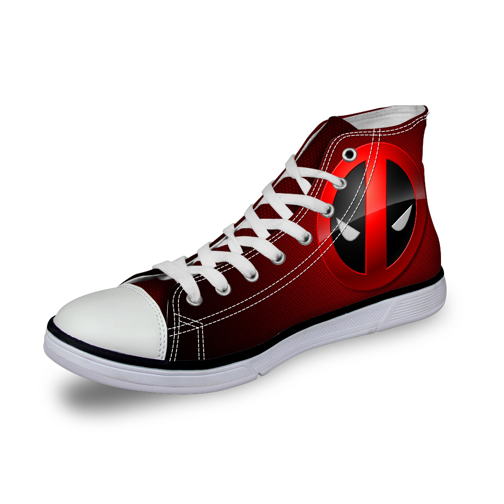 Designer Women Casual Shoes High Top Superheros Deadpool Print Canvas Shoes,Designer Female Lady Flat Sport Walking Shoes(China (Mainland))