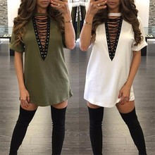 Buy WLKE Women Summer Dress 2017 Short Sleeve Loose T Shirt Dress Sexy Hollow Lace Dress Plus Size 3XL Vestidos KP#796 for $11.99 in AliExpress store