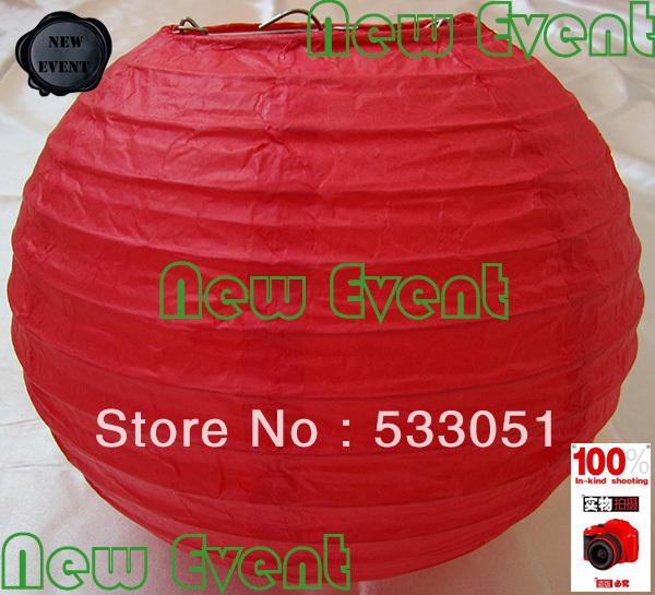 Hot Sale 20cm Red Color Chinese Round Paper Lantern Wedding Lantern Festival Decoration(China (Mainland))