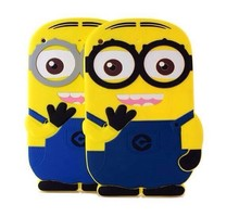 Soft Cute Cartoon tablet PC Accessory for Apple iPad air / 5 Despicable Me Minion Rush Silicone protective Back Cases Cover