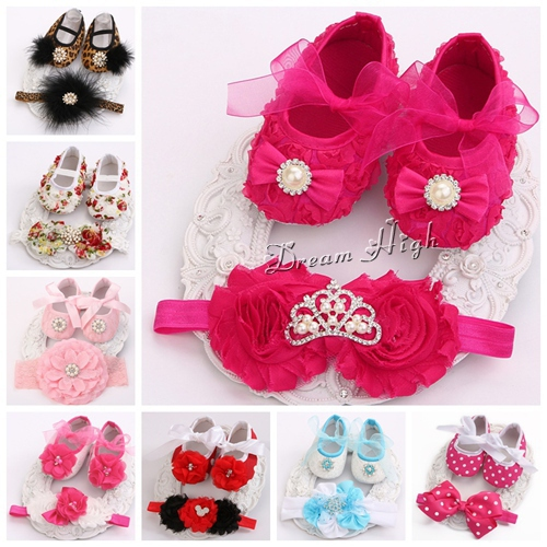 Christening baptism newborn baby girl shoes headband set,toddler baby shoes branded first walker,booties shoes for girls #JH001(China (Mainland))