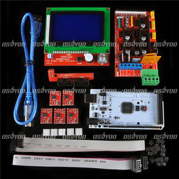 3D Printer Kit RAMPS 1.4 MEGA2560 A4988 LCD 12864 Controller For Arduino RepRap,Free Shipping & Drop shipping(China (Mainland))