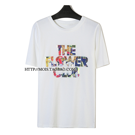Designer Brand Colorful Letters Print Cotton T-shirts Women New 2014 Summer Ladies' Casual The Flower Club Tops And Tees(China (Mainland))
