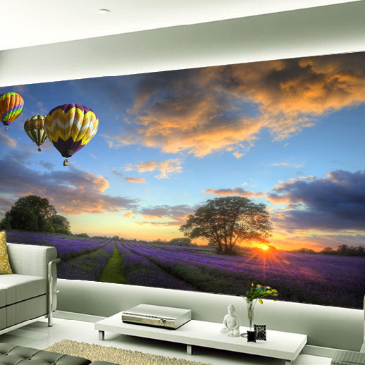 3d Lavender Mural Wallpaper Hot Air Balloon Full Wall