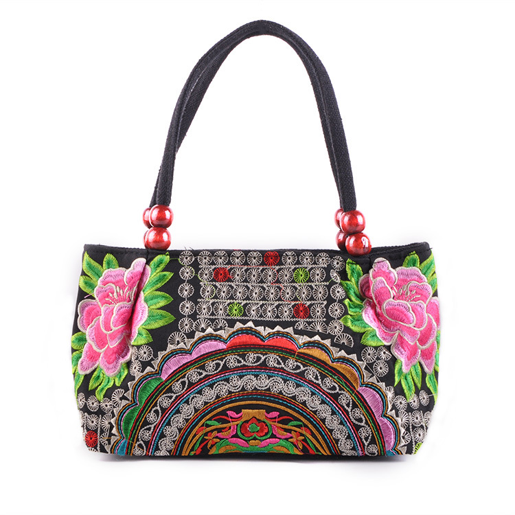 New Original Chinese National Ethnic Embroidery Bag Wood beads Double side embroidered Shoulder bag Women Small Handbag(China (Mainland))