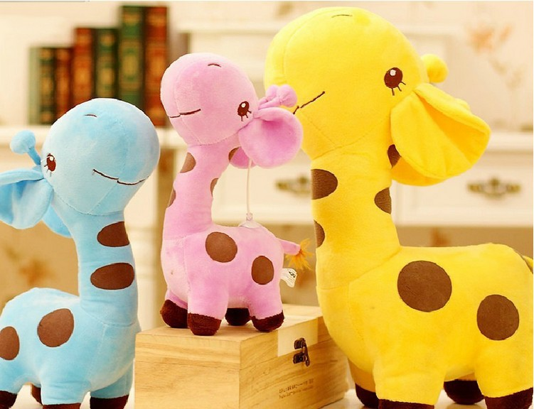 Kids Baby Plush Toy Stuffed Cute Plush Donkey Dot Colorful Doll Gift Sika Deer 30cm Drop Free Shipping(China (Mainland))