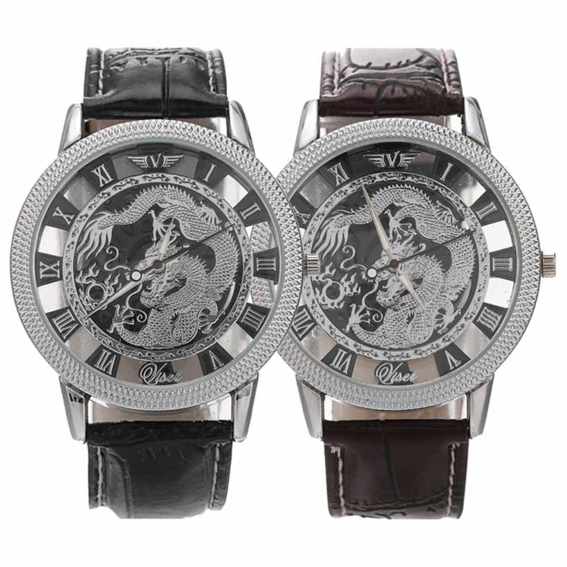 Гаджет  Creative 2015 Hollow Dial Style Silver Dragon Luxury Watch Men Rome Trendy Big Dial Manly Business Quartz Men Watch None Часы
