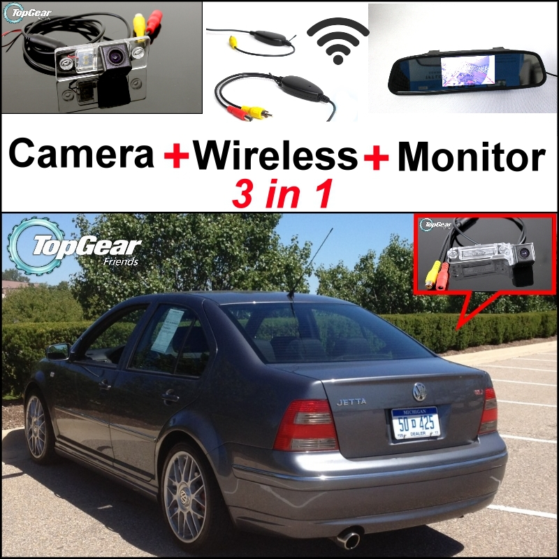 Special Wifi Camera + Wireless Receiver + Mirror Monitor 3 in1 Easy DIY Backup Parking System For Volkswagen VW Jetta Bora A4 1J(China (Mainland))