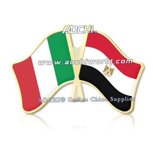 Best Selling Mix And Match Italy And Egypt Crossed Flags Lapel Pins(China (Mainland))