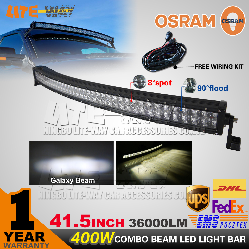 OSRAM 400W 42 inch Curved LED Light Bar Beam Combo Offroad Led Work Light 12V/24V SUV ATV UTV 4WD 4X4 Off Road Led Light Bar(China (Mainland))