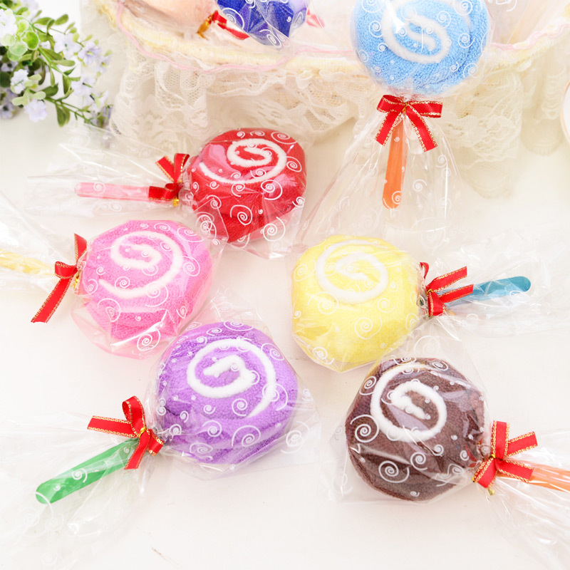 Monochrome lollipop candy towel kids Wedding gifts for guests Favor promotional birthday gifts face cake towel Superfine fiber(China (Mainland))