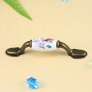 Tulip Ceramic+Zinc Alloy Handles for drawer/closet/cabinet,Dual Holes, NLS1058-76AEB,76mm,20 pcs/lot, free shipping