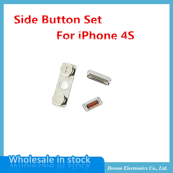 50sets/lot Brand New OEM External Side Button Power On Off Lock + Volume Switch key + Mute Silent key Set for iPhone 4s(China (Mainland))