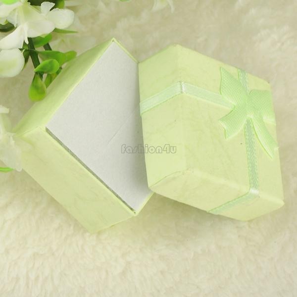 4*4*3cm jewelry ring earring bracelet ring small gift box green square carton bow case ES4540(China (Mainland))