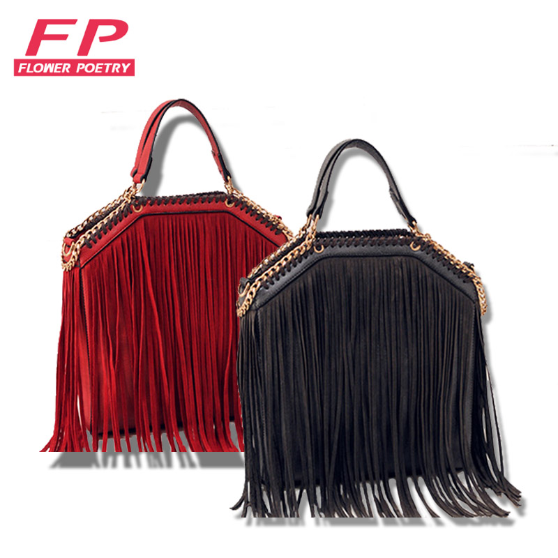 2016 tassel bag for women black crossbody bag ladies handbag with tassels Fashion female brand PU leahter shoulder bag bolsos(China (Mainland))