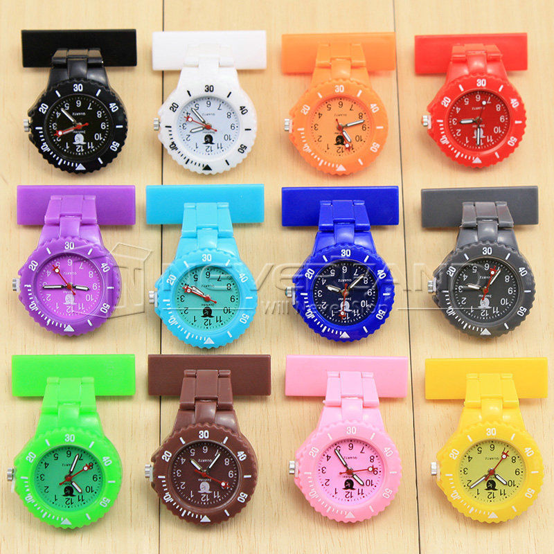 2015 Wholesale 12 Color Style Nurse Watch With Pin Fob Brooch Pendant Hanging Pocket Fob watch Free shipping C10(China (Mainland))