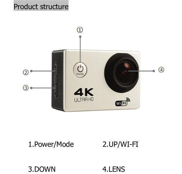 HD 4K WIFI Sport Action Camera F60R 2.4G Remote Control 30fps  Waterproof  Cam Diving Camcorder+32GB+Bag+Go  Pro accessory