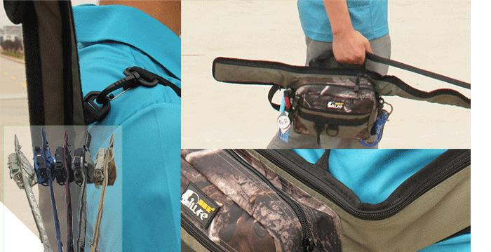 Многофункциональную сумку для рыбалки можно носить на плече и в руках