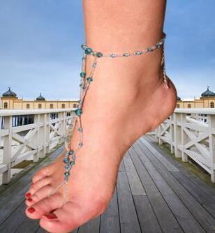 Бесплатная доставка, пара босиком сандалии с бирюзовый хрустальные бусины, ножной браслет, вены депрессий ножные браслеты